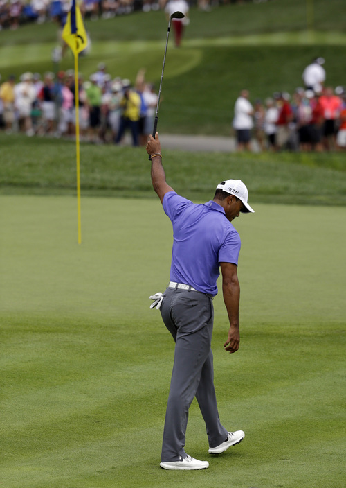 Tiger Woods reacts after chipping in on the 16th hole during the first round of the PGA Championship golf tournament at Valhalla Golf Club on Thursday, Aug. 7, 2014, in Louisville, Ky. (AP Photo/John Locher)
