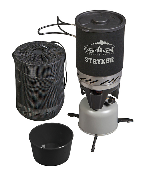 | Courtesy Photo  Stryker stove from Camp Chef  This Logan-based company is well known for providing equipment to help feed the masses or dress up the backyard patio cooking area. Camp Chef is launching into a new demographic with the Stryker stove. Meant for light car camping or backpacking, the single-burner runs on isobutene, propane or both. Stryker comes with a 1.3 liter cup, a serving bowl, stand and mesh storage bag. The base model weighs 8.3 ounces, is capable of boiling water in two minutes and will be available Spring 2015 for $60. www.campchef.com