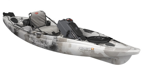 Courtesy Photo  Predator XL fishing kayak from Old Town: What's 13-feet long, 36-inches wide, able to float 600 pounds and capable of getting anglers to the fish no matter where they are? Say hello to the Predator XL from Old Town. This foot-controlled rudder system allows handsfree forward and reverse steering can now also include a Minn Kota motor to cover more water. A range of models will be available including the motor option and a flat floor for standing and sight fishing/casting. The base model will run $1,599 with the motor option at $2,699. www.johnsonoutdoors.com