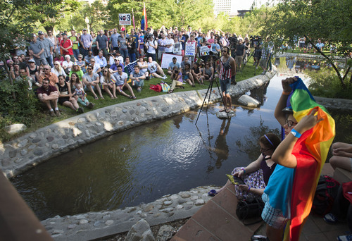 Steve Griffin  |  The Salt Lake Tribune   Supporters join Utah Unites for Marriage at City Creek Park in Salt Lake City, Utah Wednesday, June 25, 2014, to celebrate the historic decision in Kitchen v. Herbert and stepping-stone toward the freedom to marry.