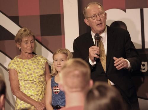 Senator Lamar Alexander talks to his supporters after winning his race against Joe Carr Thursday Aug. 7, 2014, in Nashville. (AP Photo/The Tennessean, John Partipilo)