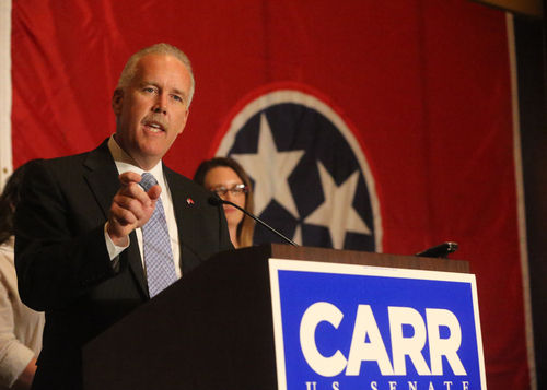 Joe Carr, concedes in the GOP primary for the U. S. Senate seat to Lamar Alexander at Carr's reception at the Embassy Suites in Murfreesboro, on election night, Thursday, August 7, 2014. (AP Photo/The Tennessean, Helen Comer)