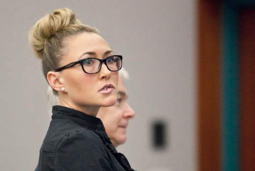 Former Davis High School English teacher Brianne Altice appeared in Second District Court in Farmington and entered not guilty pleas on February 27, 2014. (BRIANA SCROGGINS/Standard-Examiner)