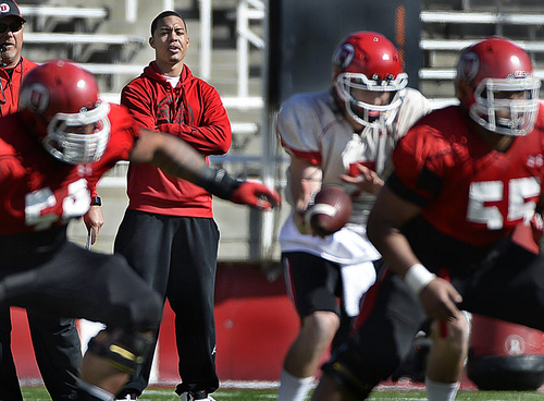 Scott Sommerdorf   |  The Salt Lake Tribune Utah commit QB Kendal Thompson watches Utah QB Travis Wilson work during Utah football practice at Rice Eccles Stadium, Saturday, March 22, 2014.