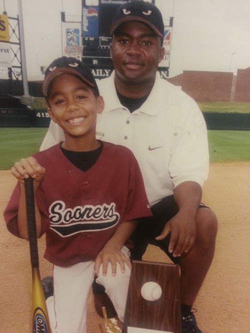 Courtesy  |  Charles Thompson  Kendal Thompson plays for his dad's Sooners baseball team at age 7.