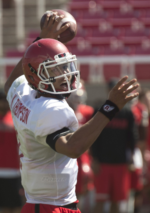 Rick Egan  |  The Salt Lake Tribune  Ute QB, Kendal Thompson looks to pass during practice at Rice Eccles Stadium, Wednesday, August 6, 2014
