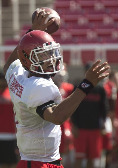 Rick Egan  |  The Salt Lake Tribune  Ute QB, Kendal Thompson looks to pass during practice at Rice Eccles Stadium, Wednesday, August 6, 2014
