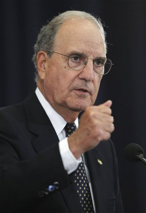 FILE - In this Sept. 2, 2010 file photo, Special Envoy for Middle East Peace George Mitchell briefs reporters the State Department in Washington. AP sources say that Mitchell plans to resign. (AP Photo/Charles Dharapak, File)