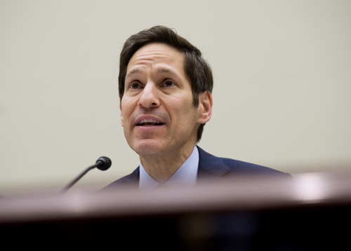 """In this Aug. 7, 2014, photo, Centers for Disease Control and Prevention (CDC) Director Dr. Tom Frieden testifies on Capitol Hill in Washington. Ebola is a """"painful, dreadful, merciless virus,"""" the United States' top disease fighter says. The outbreak in West Africa has been declared an international health emergency, already killing more than 900 people and spreading. That's scary, and it's serious. But it needs context.  (AP Photo/Molly Riley)"""