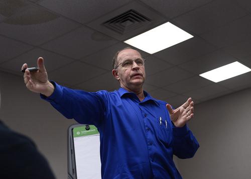 Scott Sommerdorf      The Salt Lake Tribune UEP accountant Jethro Barlow speaks the UEP distribution meeting at El Capitan School, Saturday, August 9, 2014.