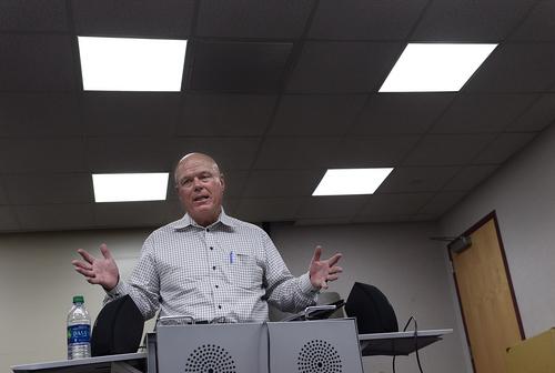 Scott Sommerdorf      The Salt Lake Tribune UEP fiduciary Bruce Wisan speaks at the UEP community meeting held at El Capitan School, Saturday, August 9, 2014.