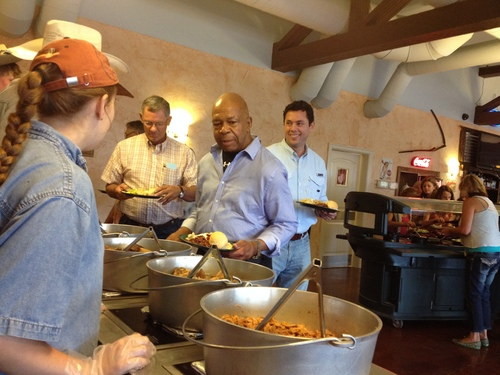 Matt Canham  |  The Salt Lake Tribune Rep. Jason Chaffetz, R-Utah, and Rep. Elijah Cummings, D-Md., partake of a Dutch-oven buffet in Moab, as part of a tour meant to introduce Cummings to political issues affecting the rural West.
