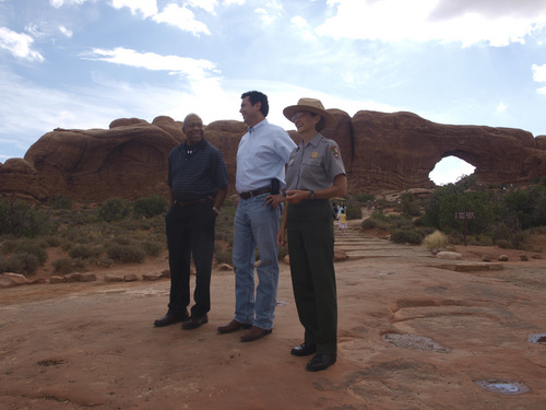 Rudy Herndon | Courtesy   Arches National Parks superintendent Kate Cannon gives Reps. Jason Chaffetz, R-Utah, and Elijah Cummings a tour of some of Utah's iconic lands.