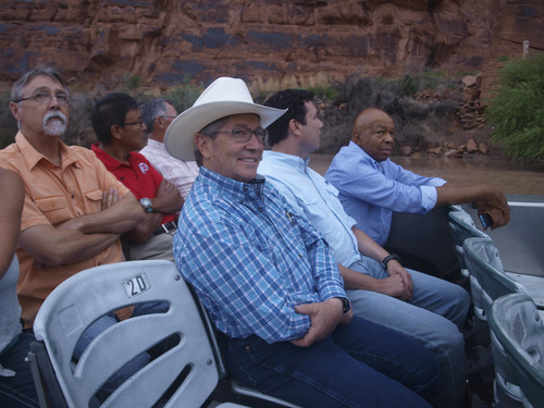 Rudy Herndon | Courtesy   Front row, left to right: Utah State Sen. David Hinkins, R-Orangeville; Jason Chaffetz, R-Utah, and Elijah Cummings. Back row, left to right: Grand County Council Chairman Lynn Jackson, former Navajo Nation Council Delegate Mark Maryboy and San Juan County Commission Chairman Bruce Adams, during a a tour of some of Utah's iconic lands.