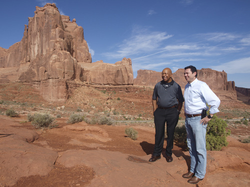 Rudy Herndon | Courtesy   Reps. Jason Chaffetz, R-Utah, and Elijah Cummings take a tour of some of Utah's Arches National Park.