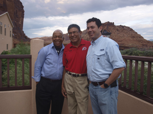 Rudy Herndon | Courtesy   Reps. Jason Chaffetz, R-Utah, and Elijah Cummings pose for a photo with former Navajo Nation Council Delegate Mark Maryboy during a tour of some of Utah's Arches National Park.