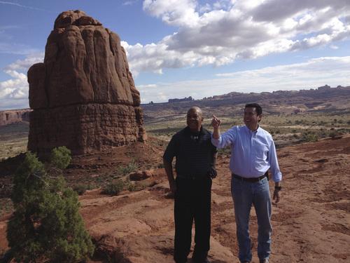 Matt Canham  |  The Salt Lake Tribune  Reps. Jason Chaffetz, R-Utah, and Elijah Cummings take a tour of some of Utah's Arches National Park.