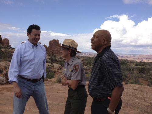 Matt Canham  |  The Salt Lake Tribune  Arches National Parks superintendent Kate Cannon gives Reps. Jason Chaffetz, R-Utah, and Elijah Cummings a tour of some of Utah's iconic lands.