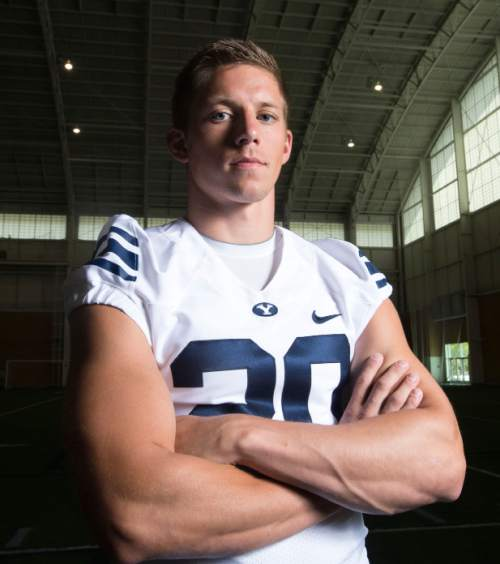 Steve Griffin  |  The Salt Lake Tribune   BYU punter Scott Arellano at the indoor practice facility in Provo, Utah Thursday, August 7, 2014.