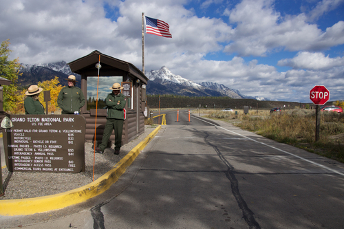 Park Rangers at the Moose entrance gate prepare for visitors attempting to enter Grand Teton National Park on Tuesday morning.