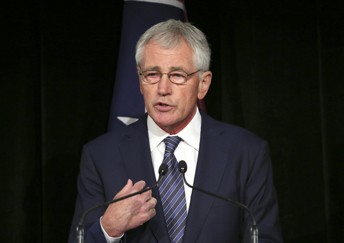 U.S. Secretary of Defense Chuck Hagel speaks during a press conference with Australia's Defense Minister David Johnston in Sydney, Australia, Monday, Aug. 11, 2014. Hagel is in Australia along with U.S. Secretary of State John Kerry for talks with government officials as part of the annual Australia-United States Ministerial talks.(AP Photo/Rob Griffith, Pool)