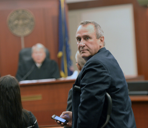 Al Hartmann  |  The Salt Lake Tribune  Former attorneys genera Mark Shurtleff makes his initial court appearance in Judge Royal Hansen's courtroom in Salt Lake City Wednesday July 30 on charges of receiving or soliciting bribes, accepting gifts, tampering with evidence, obstructing justice and participating in a pattern of unlawful conduct.