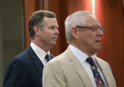 Al Hartmann  |  The Salt Lake Tribune  Former attorney general John Swallow, left, and his attorney Stephen McCaughey enter Judge Royal Hansen's courtroom in Salt Lake City Wednesday July 30.  Swallow along with former attorney general Mark Shurtleff are charged with receiving or soliciting bribes, accepting gifts, tampering with evidence, obstructing justice and participating in a pattern of unlawful conduct.