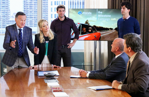 "This photo released by CBS shows, from left, Robin Williams as Simon Roberts, Sarah Michelle Gellar as Sydney Roberts, James Wolk as Zach Cropper and Hamish Linklater as Andrew Keaneally, in a scene from ""The Crazy Ones."" Williams, whose free-form comedy and adept impressions dazzled audiences for decades, has died in an apparent suicide. He was 63. The Marin County Sheriff's Office said Williams was pronounced dead at his home in California on Monday, Aug. 11, 2014. The sheriff's office said a preliminary investigation showed the cause of death to be a suicide due to asphyxia. (AP Photo/CBS, Richard Cartwright) MANDATORY CREDIT"