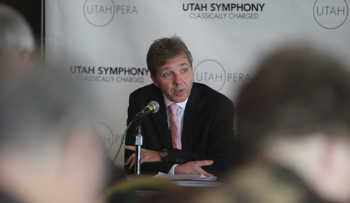 "Lennie Mahler  |  The Salt Lake Tribune  Utah Symphony Music Director Thierry Fischer speaks to press and membership holders about the Utah Symphony 2012-13 Season, ""Classically Charged."""