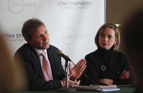 "Lennie Mahler  |  The Salt Lake Tribune  Utah Symphony Music Director Thierry Fischer, left, speaks to the media and season ticket holders about the Utah Symphony 2012-13 season, ""Classically Charged,"" as Utah Symphony President and CEO Melia Tourangeau listens."
