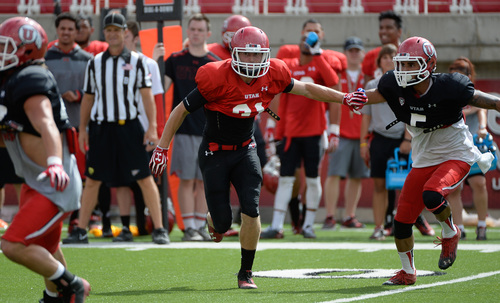 Francisco Kjolseth  |  The Salt Lake Tribune Ryan Petersen works to stay in the play as the University of Utah football team holds practice at Rice-Eccles Stadium on Tuesday morning, Aug. 12, 2014.