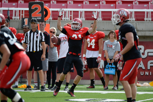 Francisco Kjolseth  |  The Salt Lake Tribune Ryan Petersen makes his position known as the University of Utah football team holds practice at Rice-Eccles Stadium on Tuesday morning, Aug. 12, 2014.