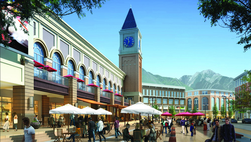 (Courtesy Howard Hughes Corp.)  This artist's rendering shows a central gathering area in the open-air, 57-acre Cottonwood development. The building dominated by the clock tower will be home to a 10-screen, 2,300-seat Larry H. Miller Megaplex Theatres complex once the property owner, Howard Hughes Corp., redevelops the dormant mall site.