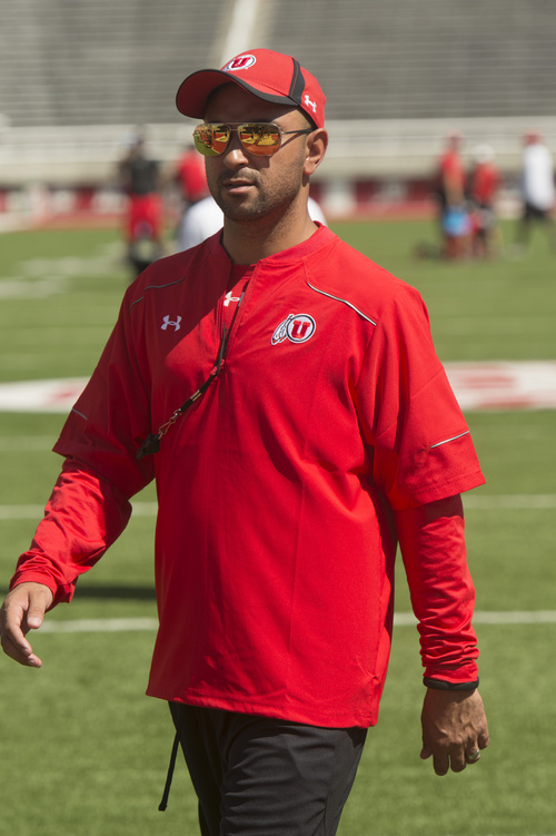 Rick Egan  |  The Salt Lake Tribune  Wide reciever coach, Taylor Stubblefield, during practice at Rice Eccles Stadium, Wednesday, August 6, 2014
