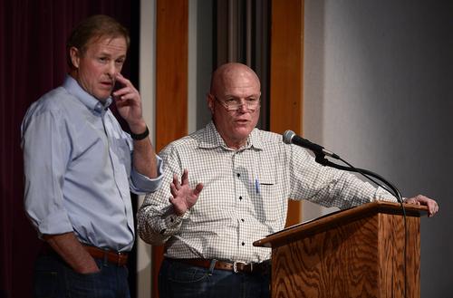 Scott Sommerdorf   |  The Salt Lake Tribune UEP attorney Jeff Shields, left and UEP fiduciary Bruce Wisan at El Capitan School, Saturday, August 9, 2014.
