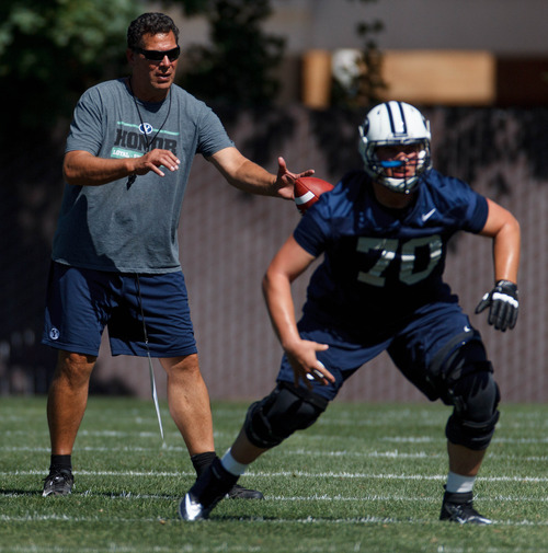 Trent Nelson  |  The Salt Lake Tribune Offensive coordinator Robert Anae at BYU football practice in Provo Saturday August 3, 2013. Terrance Alletto at right.