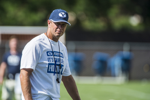 Chris Detrick  |  The Salt Lake Tribune Brigham Young Cougars head coach Bronco Mendenhall during a practice at Richards Building Fields Friday August 1, 2014.
