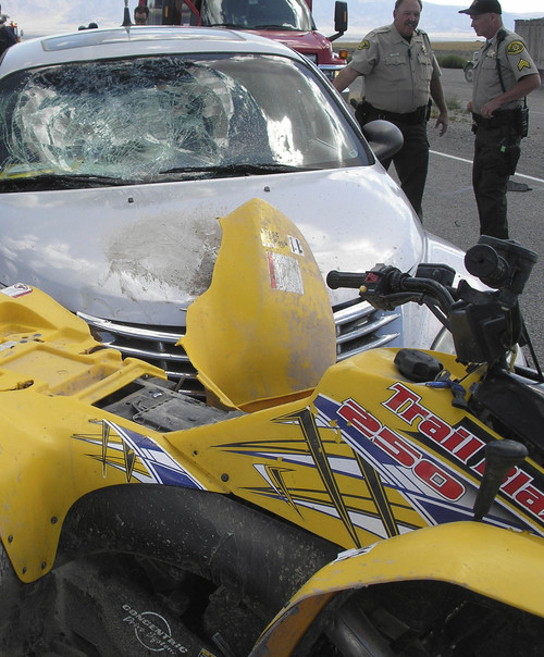 Courtesy  |  Utah Highway Patrol Two 15-year-old girls were injured in Utah County Friday after their ATV was struck by a car on State Road 73. Courtesy: