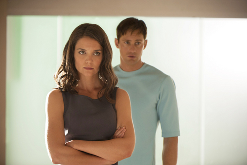 """This image released by The Weinstein Company shows Katie Holmes, left, and Alexander Skarsgard in a scene from """"The Giver."""" (AP Photo/ The Weinstein Company, David Bloomer)"""
