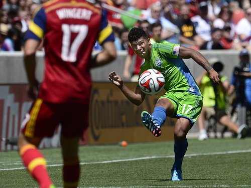 Scott Sommerdorf   |  The Salt Lake Tribune Booed hy RSL fans on every one of his possessions, Seattle's DeAndre Yedlin sends a pass during first half play. RSL defeated the Seattle Sounders 2-1 at Rio Tinto Stadium, Saturday, August 15, 2014.