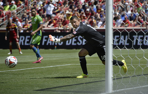 Scott Sommerdorf   |  The Salt Lake Tribune RSL GK Nick Rimando watches a shot goes wide during first half play. RSL defeated the Seattle Sounders 2-1 at Rio Tinto Stadium, Saturday, August 15, 2014.