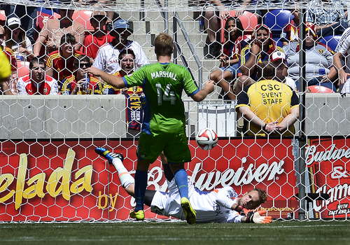 Scott Sommerdorf   |  The Salt Lake Tribune Seattle GK Stefan Frei makes a save during first half play. RSL defeated the Seattle Sounders 2-1 at Rio Tinto Stadium, Saturday, August 15, 2014.