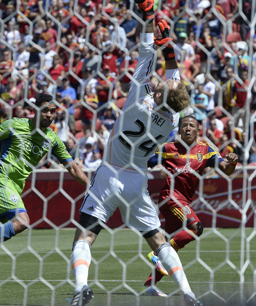 Scott Sommerdorf   |  The Salt Lake Tribune RSL forward Joao Plata watches his header sail out of the reach of Seattle goalkeeper Stefan Frei early in  the second half for a 1-0 lead. RSL defeated the Seattle Sounders 2-1 at Rio Tinto Stadium, Saturday, August 15, 2014.