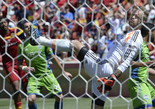 Scott Sommerdorf   |  The Salt Lake Tribune Seattle goalkeeper Stefan Frei reacts as he sees that RSL forward Joao Plata's header has gotten past him into the net early in  the second half for a 1-0 lead. RSL defeated the Seattle Sounders 2-1 at Rio Tinto Stadium, Saturday, August 15, 2014.