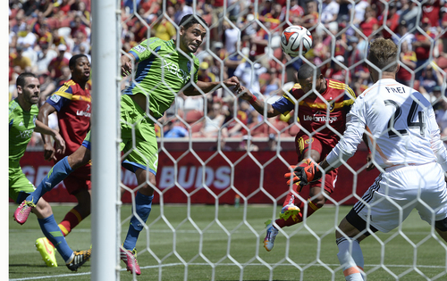 Scott Sommerdorf   |  The Salt Lake Tribune RSL forward Joao Plata sends a header into the net past Seattle goalkeeper Stefan Frei early in  the second half for a 1-0 lead. RSL defeated the Seattle Sounders 2-1 at Rio Tinto Stadium, Saturday, August 15, 2014.