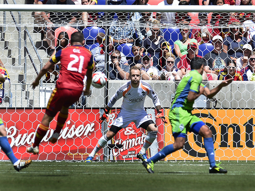 Scott Sommerdorf   |  The Salt Lake Tribune Luis Gil sends a header toward Seattle GK Stefan Frei during first half play. Frei made the save. RSL defeated the Seattle Sounders 2-1 at Rio Tinto Stadium, Saturday, August 15, 2014.