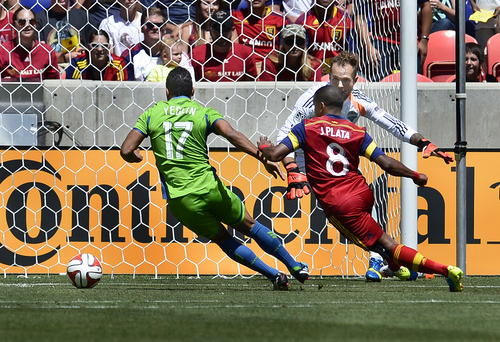 Scott Sommerdorf   |  The Salt Lake Tribune Joao Plata knifes his way into the box during first half play. RSL defeated the Seattle Sounders 2-1 at Rio Tinto Stadium, Saturday, August 15, 2014.