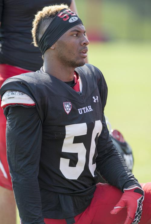 Rick Egan  |  The Salt Lake Tribune  Defensive end Pita Taumoepenu, at University of Utah football practice, Saturday, August 9, 2014