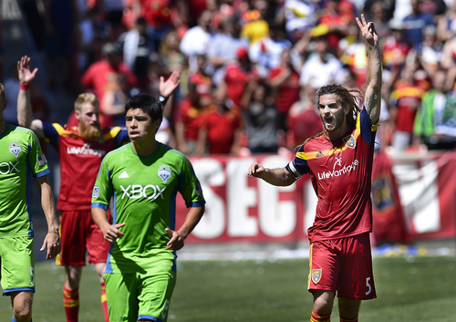 Scott Sommerdorf   |  The Salt Lake Tribune Kyle Beckerman reacts to the final whistle as RSL defeated the Seattle Sounders 2-1 at Rio Tinto Stadium, Saturday, August 15, 2014.