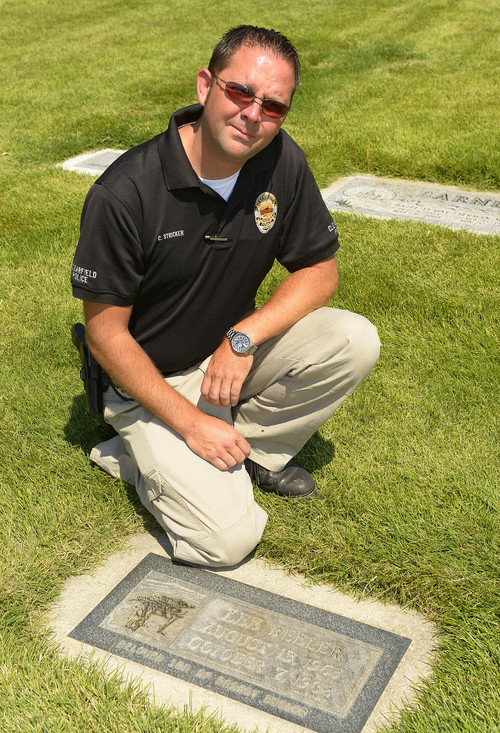 Leah Hogsten  |  The Salt Lake Tribune Clearfield Police Department detective Carey Stricker wants Clyde Lee Jourdan's mother Mary Hagadus to have closure. Stricker, shown at the grave of Jourdan, August 8, 2014, died in Utah in 1982 and was buried in Clearfield Cemetery under the name Lee Beeler. Jourdan was a 17-year-old Michigan runaway and had been picked up hitchhiking by Robert Beeler, who allegedly murdered Lee in 1982.